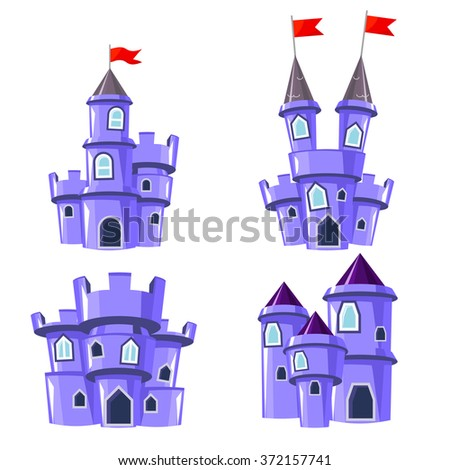 Set of four editable blue castles for game design - stock vector