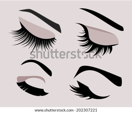 Set of four eyelashes and eyebrows silhouettes. Closed eyes vector icons - stock vector