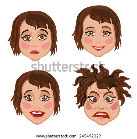 Set of four facial expressions of emotion woman on white background - stock vector