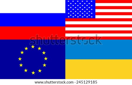 Set Of Four Flags Icons: European Union eu, Ukraine ua, Russia ru, Unites States Of America usa, For Your Business Presentation. Correct Colors. Vector Illustration  - stock vector