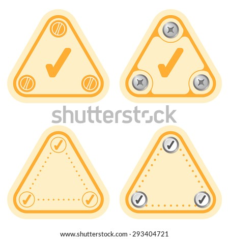 Set of four flat simple frames and check box - stock vector