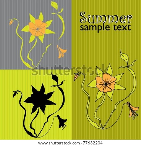 set of four floral backgrounds - vector illustration - stock vector