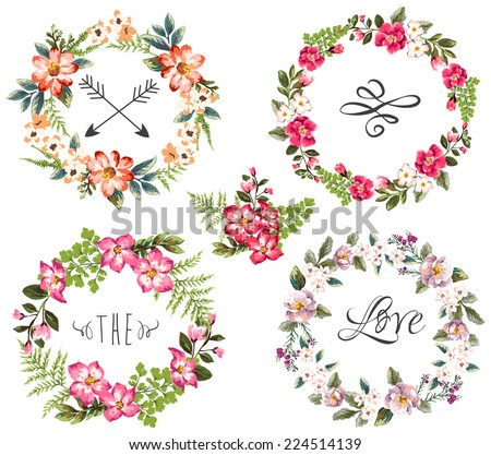 set of four flower wreaths - stock vector