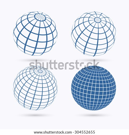 Set of four frame planet sphere icons. Isolated on white background. Vector illustration, eps 10.