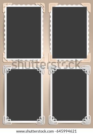 Set Four Frames Photos Vintage Style Stock Vector (2018) 645994621 ...