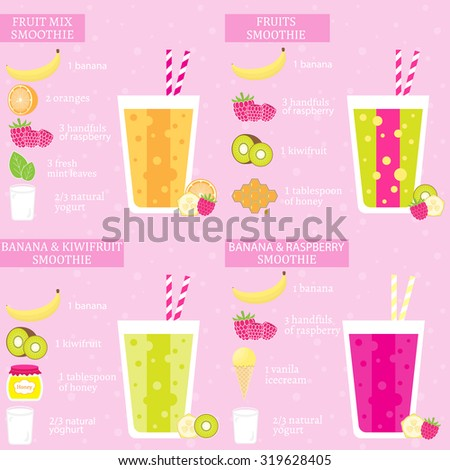 Set of four fruits recipes with banana. Menu element for cafe or restaurant with energetic fresh drink made in flat style. Fresh juice for healthy life. Organic raw shake. Vector illustration. - stock vector