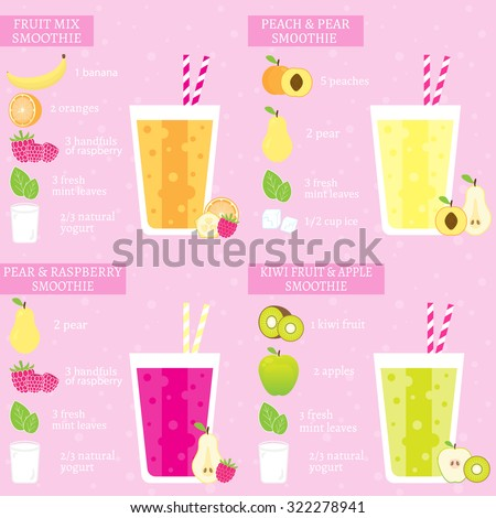 Set of four fruits recipes with banana, orange, raspberry, peach, pear, kiwi and apple. Menu element for cafe or restaurant with energetic fresh drink made in flat style. Fresh juice for healthy life - stock vector