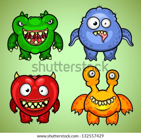 Set of four funny monsters variation 2
