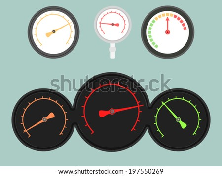 Set of four gauges. Vector illustration - stock vector