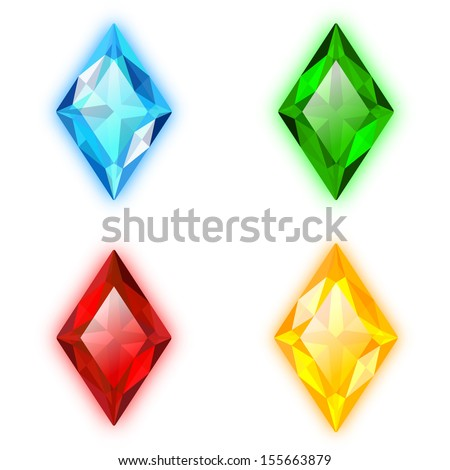 Set of Four Gems Rhomb Shaped - stock vector