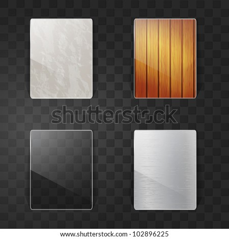 Set of four glossy labels - stock vector