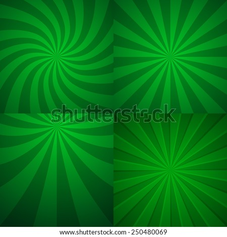 Set of four green rising backgrounds. Abstract vector graphic.  - stock vector