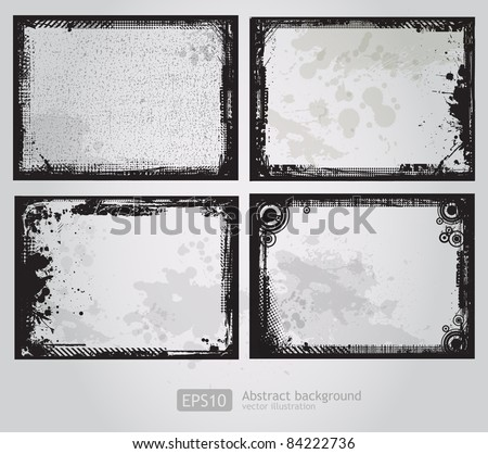 Set of four Grunge frames vector - stock vector