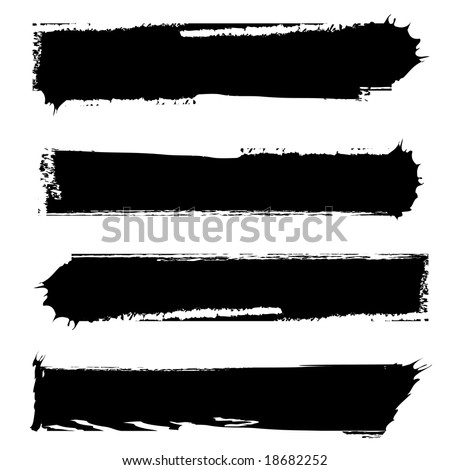 set of four grungy banners black and white - stock vector