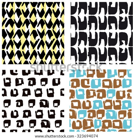 Set Four Hand Draw Patterns Simple Stock Vector 323694074