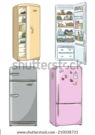 set of four hand drawn cartoon fridges. open fridge with healthy food. Vector illustration.  - stock vector