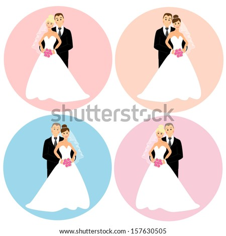 Set of four happy smiling wedding couples