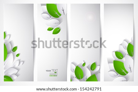 Set of four header with abstract paper leaves - stock vector