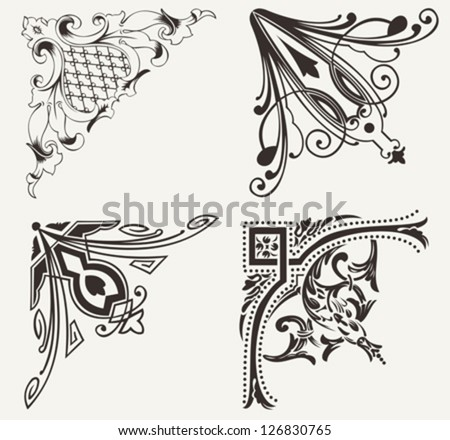 Set Of Four High Ornate Corners. Elements Of Design. - stock vector