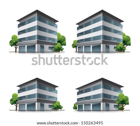 Set of four hotel or business office vector building icons with trees - stock vector