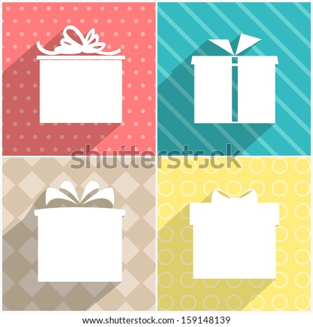 Set of four icons of gift boxes with colorful backgrounds. Vector version. - stock vector