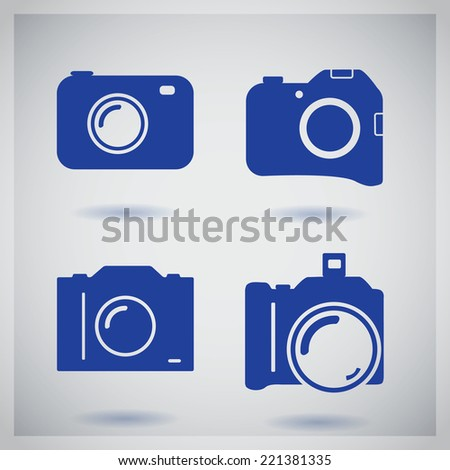 Set of four icons with camera - stock vector