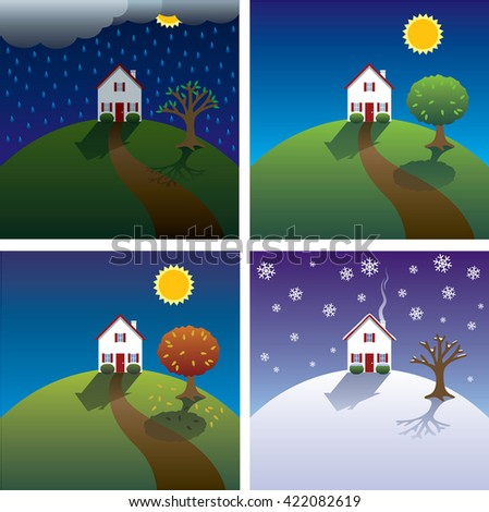 Set of four illustrations of the seasons - spring, summer, fall, autumn, winter with house