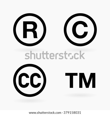 Set of four intellectual property and public domain black icon symbols with shadows over white - stock vector
