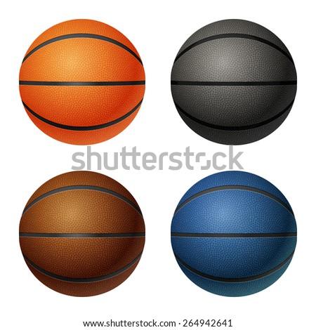 Set of four isolated on white basketballs - orange, black, brown, blue. Vector EPS10 illustration.  - stock vector
