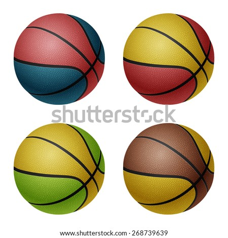 Set of four isolated on white combinated basketballs. Vector EPS10 illustration.  - stock vector