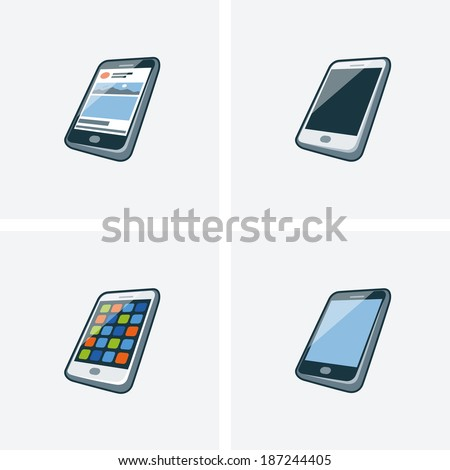 Set of four isolated smartphone icon illustration in cartoon style with different screen background  - stock vector
