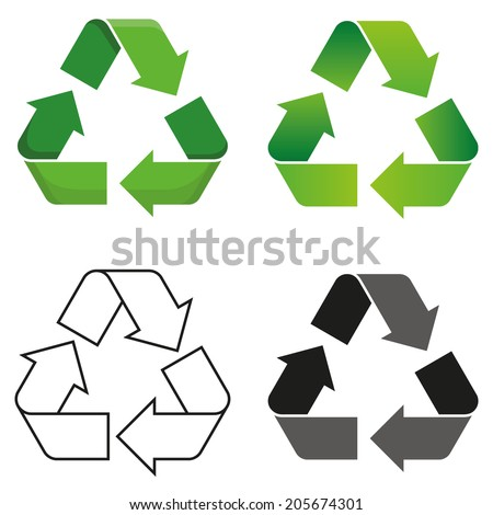 Set of four isolated vector recycle symbol  - stock vector