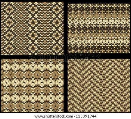 Set Four Knitted Swatches Fair Isle Stock Vector Royalty Free