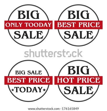 Set of four labels for various sales promotions. - stock vector