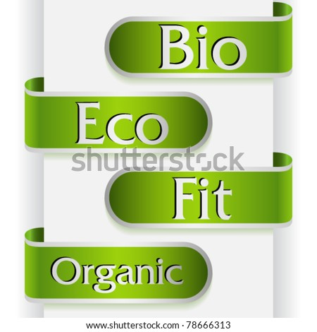 Set of four labels with word: bio, eco, fit and organic - stock vector