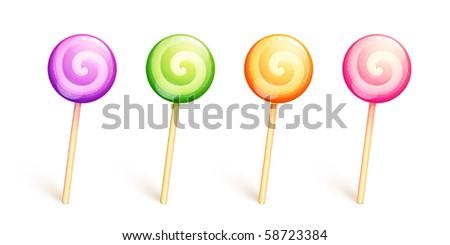 Set of four lollipops on sticks. Vector EPS10. - stock vector