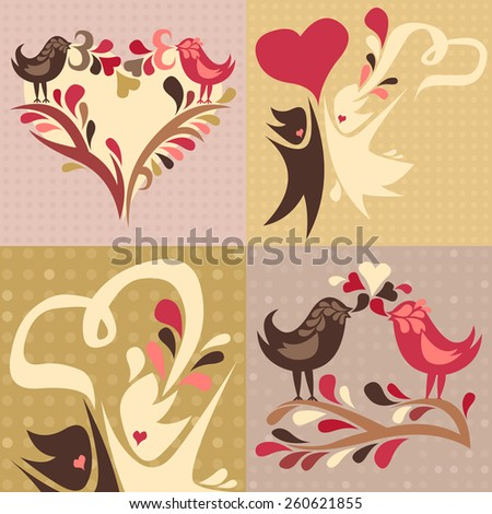 set of four love themed cards featuring two love birds and a wedding couple - stock vector