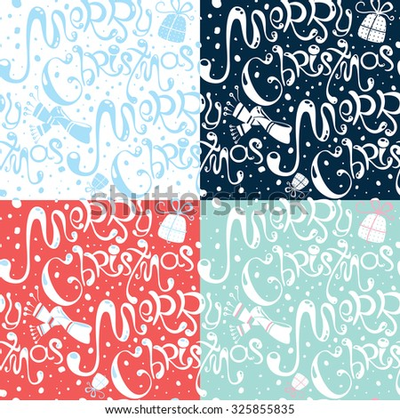 Set of four lovely cartoon Merry Christmas seamless patterns  with hand drawn text in vector. Template for wrapping paper, design, banner, print, different holiday accessories. Cute winter background - stock vector