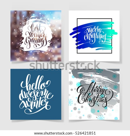 set of four merry christmas hand written calligraphy with snowflakes greeting card holiday design, calligraphy vector illustration collection eps10