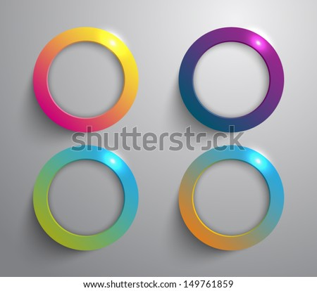 Set of four metal / metallic circles / rings with shiny lights for websites or business design. Glossy style - stock vector