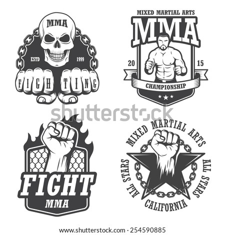 Set of four mma emblems, labels, badge, logos. Monochrome graphic style - stock vector