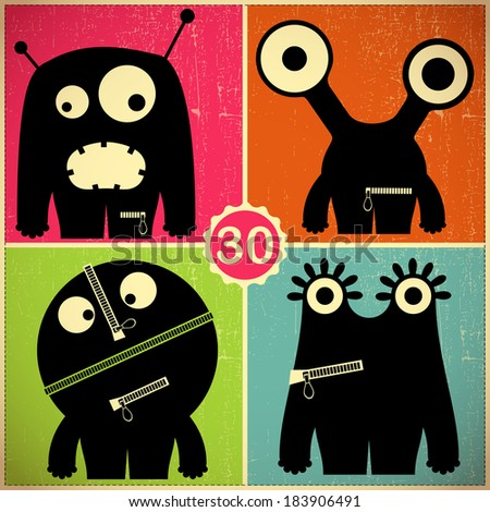 Set of four monsters at retro grunge background - stock vector