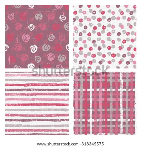 Set of four naive styled seamless patterns . All objects are conveniently grouped and are easily editable. - stock vector