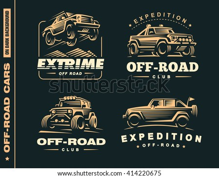 Set of four off-road suv car  labels, 4x4 extreme club emblems - stock vector