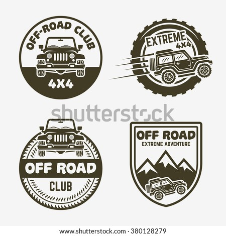 Set of four off-road suv car monochrome labels, emblems, badges or logos isolated on gray background. Off-roading trip emblems, 4x4 extreme club emblems, SUV front and side view vector black icon - stock vector