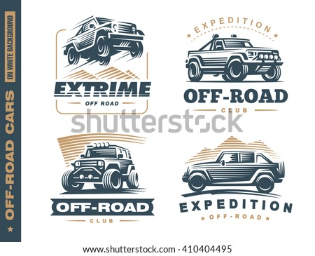 Set of four off-road suv car monochrome labels, emblems, badges or logos isolated on white background. Off-roading trip emblems, 4x4 extreme club emblems - stock vector