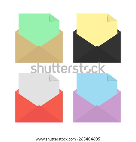 set of four opened colored envelopes. concept of stationery, delivery, marketing, mailbox, sms, checking and analysis e-mail. isolated on white background. flat style modern design vector illustration - stock vector