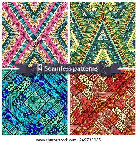 Set of four original drawing tribal doddle rhombus. Seamless patterns with geometric elements. - stock vector