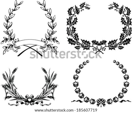 Set Of Four Original Heraldic Laurel Wreath - stock vector