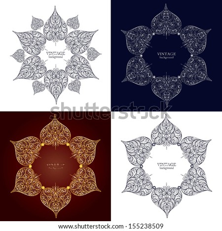 Set of four ornamental round lace, circle ornament with place for your text - stock vector